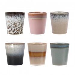 Zestaw 6 ceramicznych kubeczków 70's