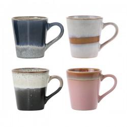 Zestaw 4 ceramicznych kubków do espresso 70's