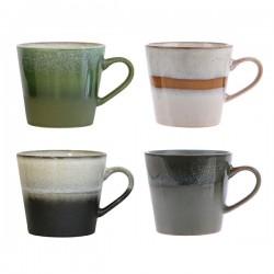 Zestaw 4 ceramicznych kubków do cappuccino 70's