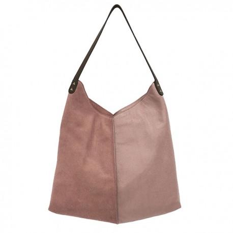 Skórzana torba brudny różowy