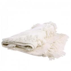 Biała narzuta z frędzlami (125x150)