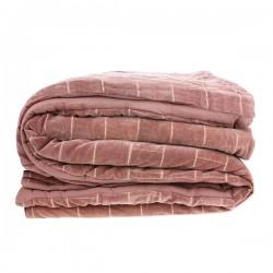 Miękka bawełniana narzuta na łóżko w kolorze brudno różowym-nude (230x250)