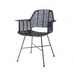 Krzesło rattanowe ze stelażem czarne