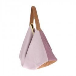 Lniano-zamszowa torba liliowa