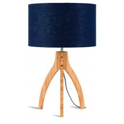 Lampa stołowa Annapurna trójnożna 30cm/abażur 32x20cm, lniany blue denim