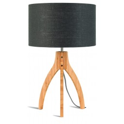 Lampa stołowa Annapurna trójnożna 30cm/abażur 32x20cm, lniany ciemnoszary