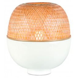Lampa stołowa Mekong L, bamus 30x33cm, biały/naturalny