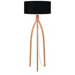 Lampa podłogowa Annapurna bambus 3-nożna 128cm/abażur 60x30cm, lniany czarny