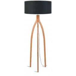 Lampa podłogowa Annapurna bambus 3-nożna 128cm/abażur 60x30cm, lniany ciemnoszary