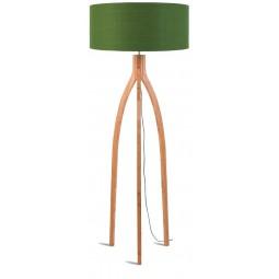 Lampa podłogowa Annapurna bambus 3-nożna 128cm/abażur 60x30cm, lniany zieleń lasu