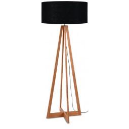 Lampa podłogowa Everest bambus 4-nożna 127cm/abażur 60x30cm, lniany czarny