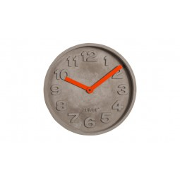 Zegar betonowy z pomarańczowymi wskazówkami