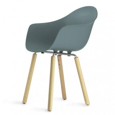Fotel TA z podstawą naturalne drewno dębowe