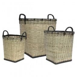 Zestaw 3 bambusowych koszy - HK Living