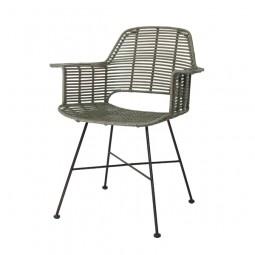 Krzesło rattanowe TUB oliwkowy - HK Living