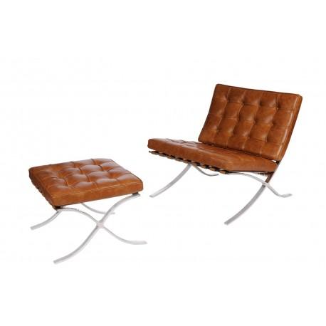 Fotel z podnóżkiem BA1 brąz j. vintage skóra
