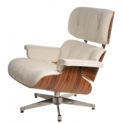 Fotel Vip biały/rosewood/srebrna baza