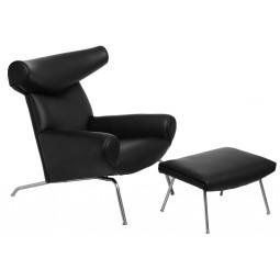 Fotel  z podnóżkiem Wół czarna skóra  4
