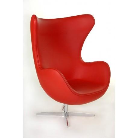 Fotel Jajo czerwona skóra 65 Premium