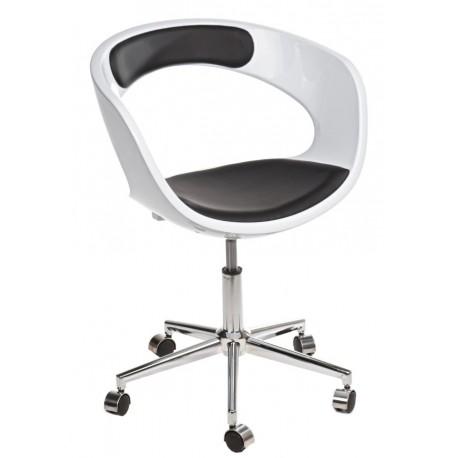 Fotel na kółkach FLOP K- biały, S- czarn e