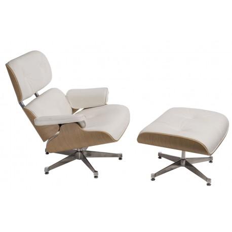 Fotel Vip z podnóżkiem biały/natural oak/srebrna baza