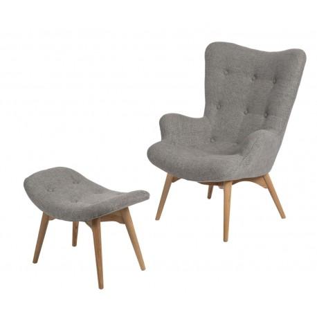 Fotel z podnóżkiem Contour szary 1508