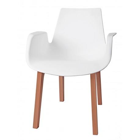 Krzesło Mokka białe, drewniane nogi