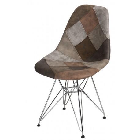 Krzesło P016 DSR patchwork beż - brąz