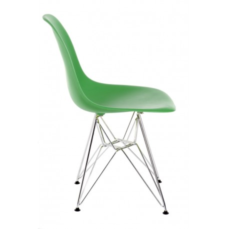 Krzesło P016 PP ciemno zielone, chromowa ne nogi