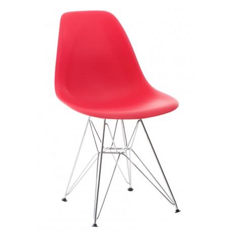 Krzesło P016 PP czerwone, chromowane nogi