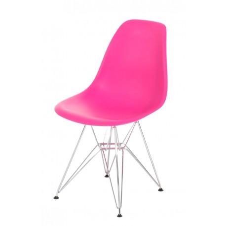 Krzesło P016 PP dark pink, chromowane nogi