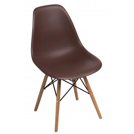 Krzesło P016W PP brązowe, drewniane nogi