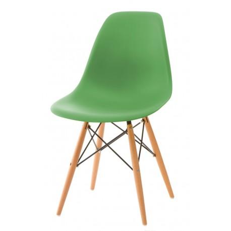 Krzesło P016W PP ciemno zielone, drewnia ne nogi