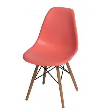 Krzesło P016W PP dark peach, drewniane nogi