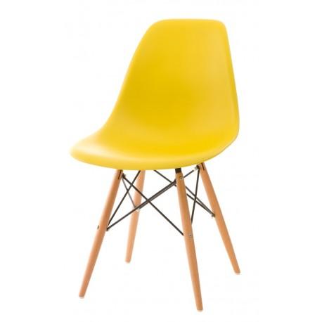 Krzesło P016W PP żółte, drewniane nogi
