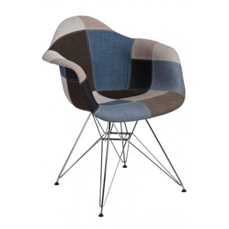 Krzesło P018 DAR patchwork nieb  - szary