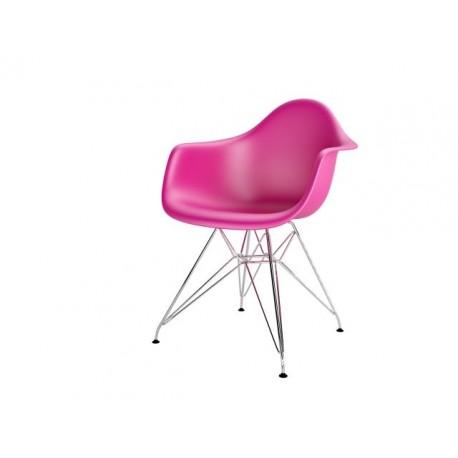Krzesło P018PP różowe chromowane nogi HF