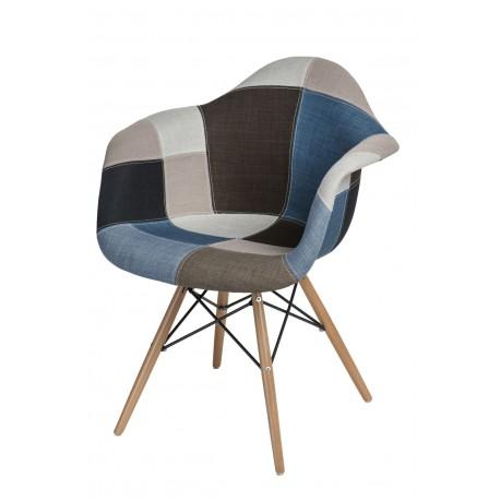 Krzesło P018W patchwork niebiesko-szary podstawa drewniana
