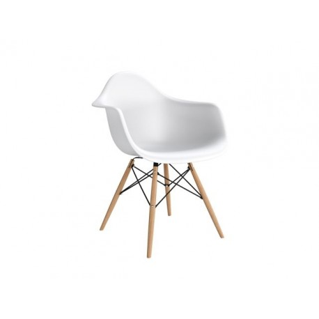 Krzesło P018W PP białe, drewniane  nogi HF