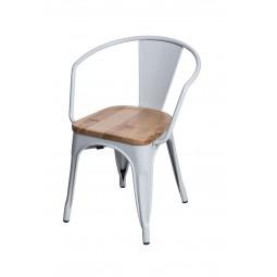 Krzesło Paris Arms Wood białe sosna natu ralna