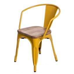 Krzesło Paris Arms Wood żółte sosna natu ralna