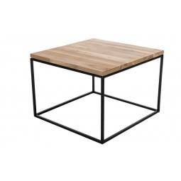Stolik Cube 60x60 biały profil 30 mm blat lakierowany z czereśni naturalny