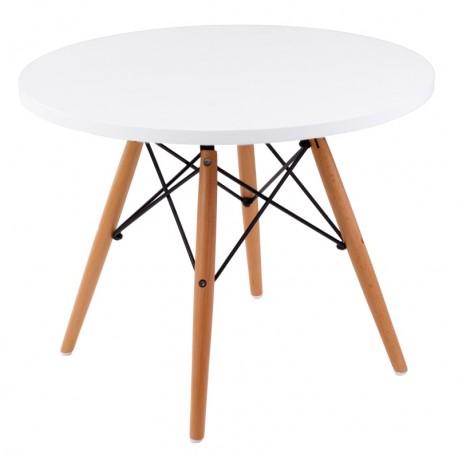 Stolik DTW średnica blatu 60 cm biały, drewniane nogi
