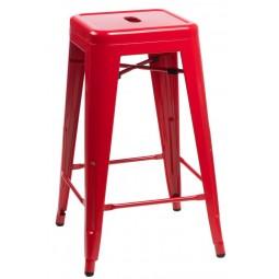 Stołek barowy Paris 66cm czerwony inspirowany Tolix