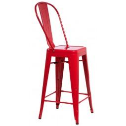Stołek barowy Paris Back czerwony inspirowany Tolix