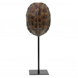 Brązowa imitacja skorupy żółwia na metalowej podstawie