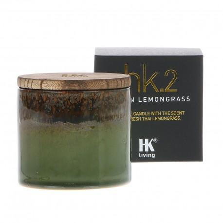 Świeca sojowa w ceramicznym słoju o zapachu trawy cytrynowej
