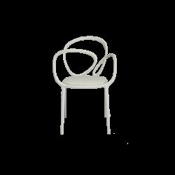 Krzesło Loop z poduszką białe - 2 szt.