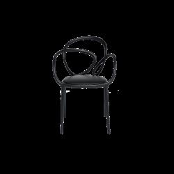 Krzesło Loop z poduszką czarne - 2 szt.
