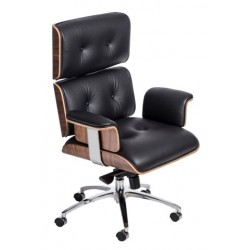 Fotel biurowy VIP czarna skóra,orzechowy fornir, chrom